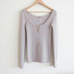 Free People wool blend Henley sweater, XS